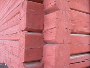 mmer timmervägg timmerhus timmerstockar- falu rödfärg-slamfärg
