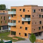 Det kemikaliefria massivträhuset i limfria träblock, Hamburg.